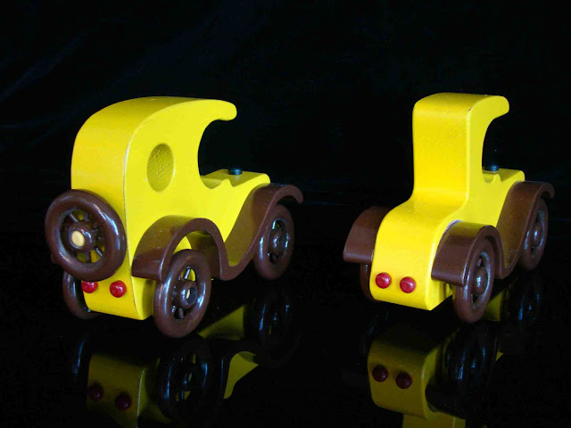 Yellow Handmade Wooden Toy Model T With Spoke Wheels