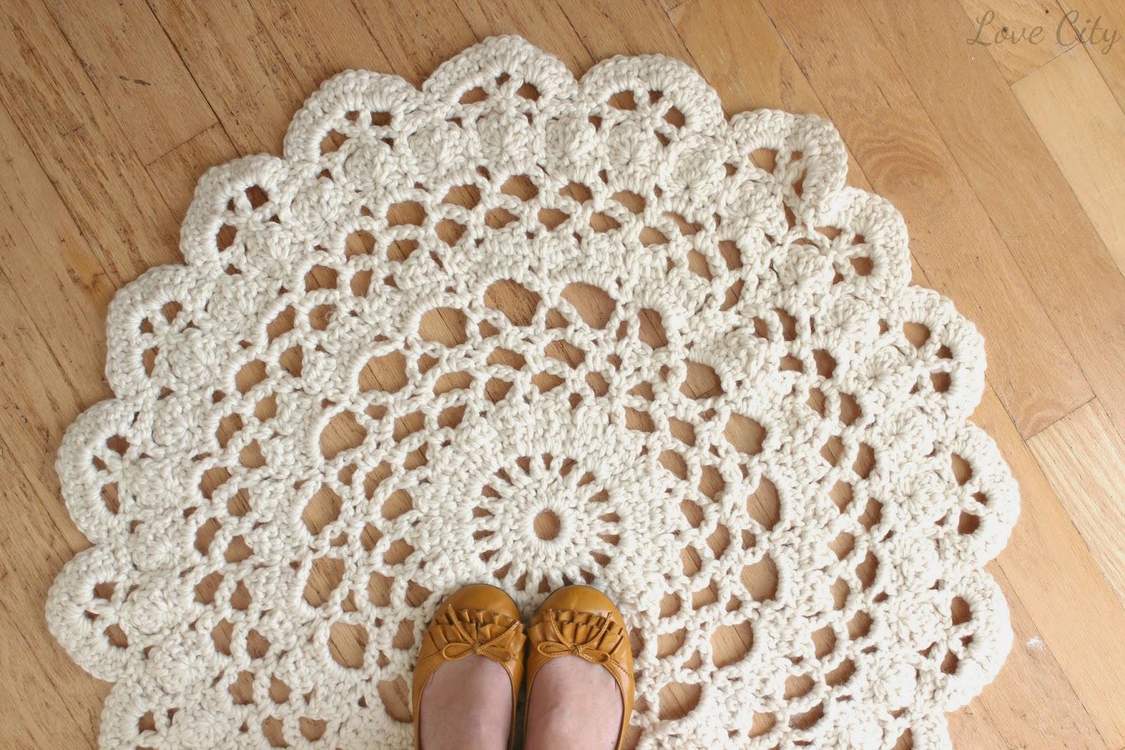 Love City Crochet Doily Rug