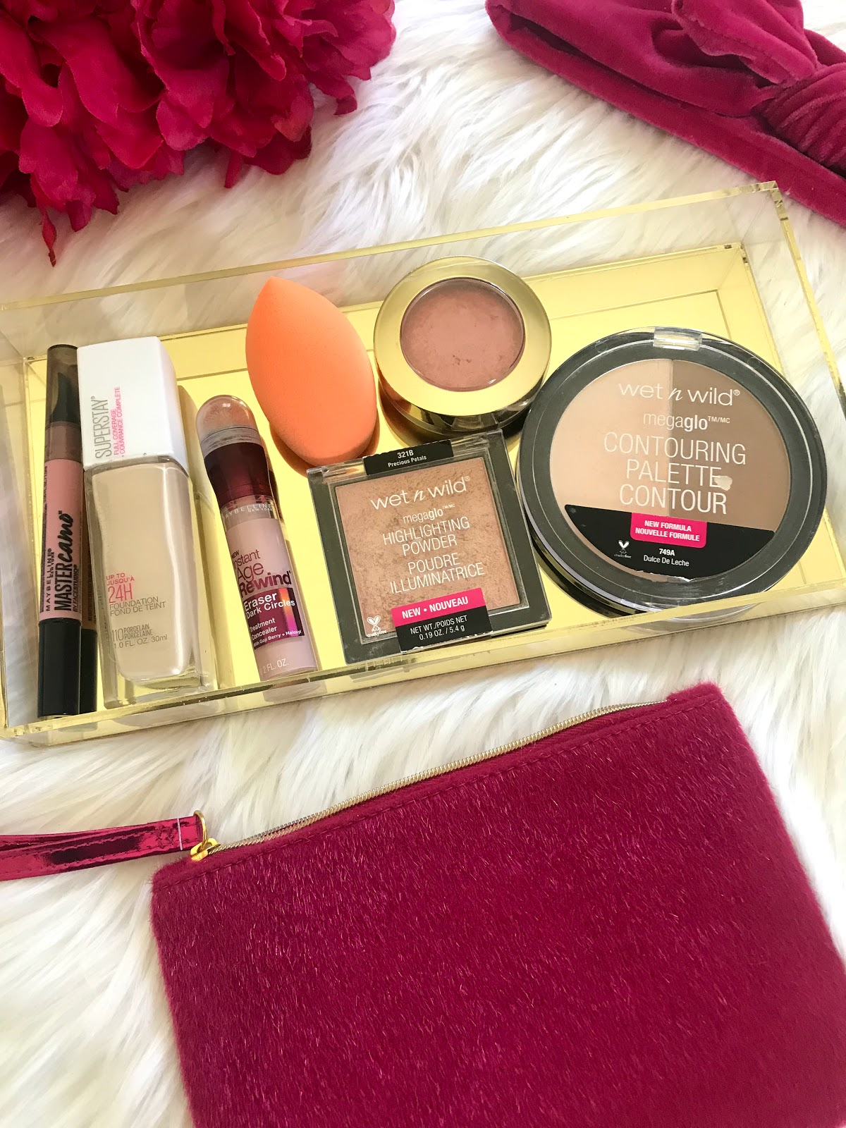 favorite drugstore foundation, powder, contour, blush, and concealor