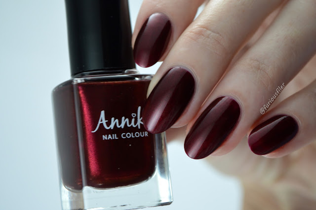 Annika deep velvet red vampy swatch Edge Nails
