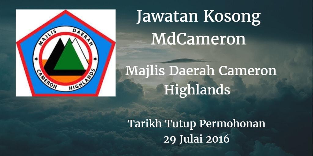 Jawatan Kosong MdCameron 29 Julai 2016