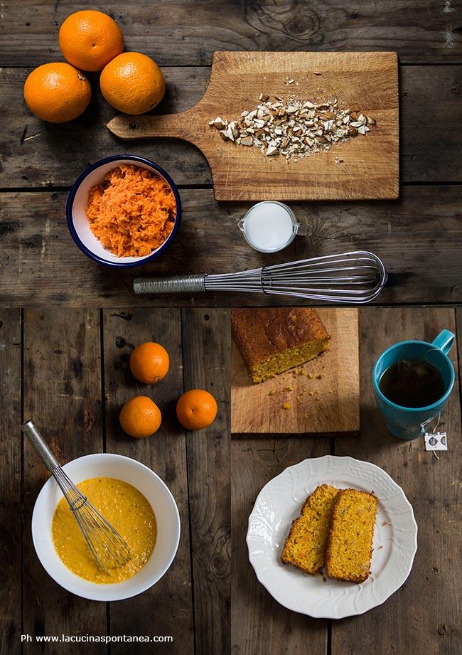 Passaggi della ricetta della Torta camilla, con mandorle e carote