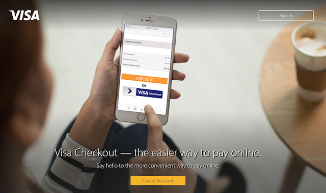 Click Visa Checkout on merchants' website to pay