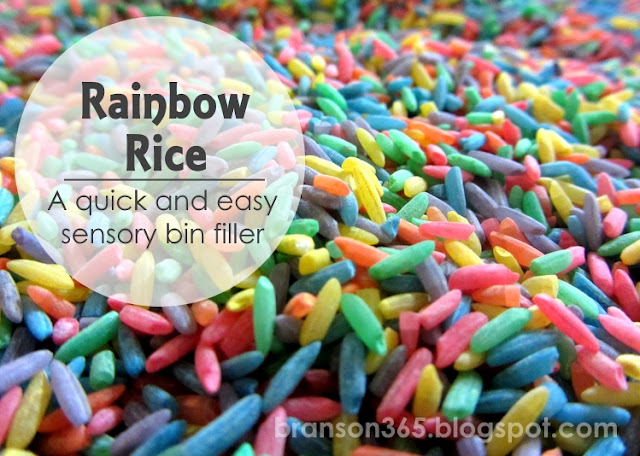Rainbow Rice sensory bin filler