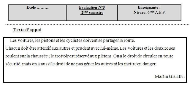 evaluation n°8 pour la 6ème 2016-2017