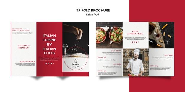 Italian cuisine trifold brochure style Free Psd