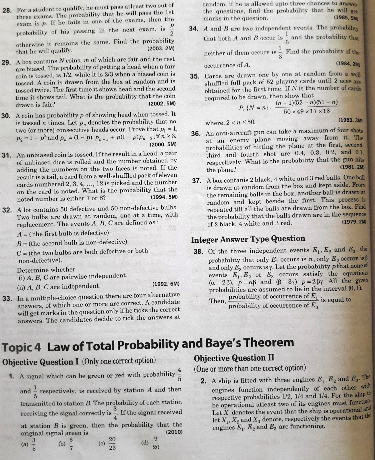 Probability JEE Advanced 38 Year Previous Year Questions