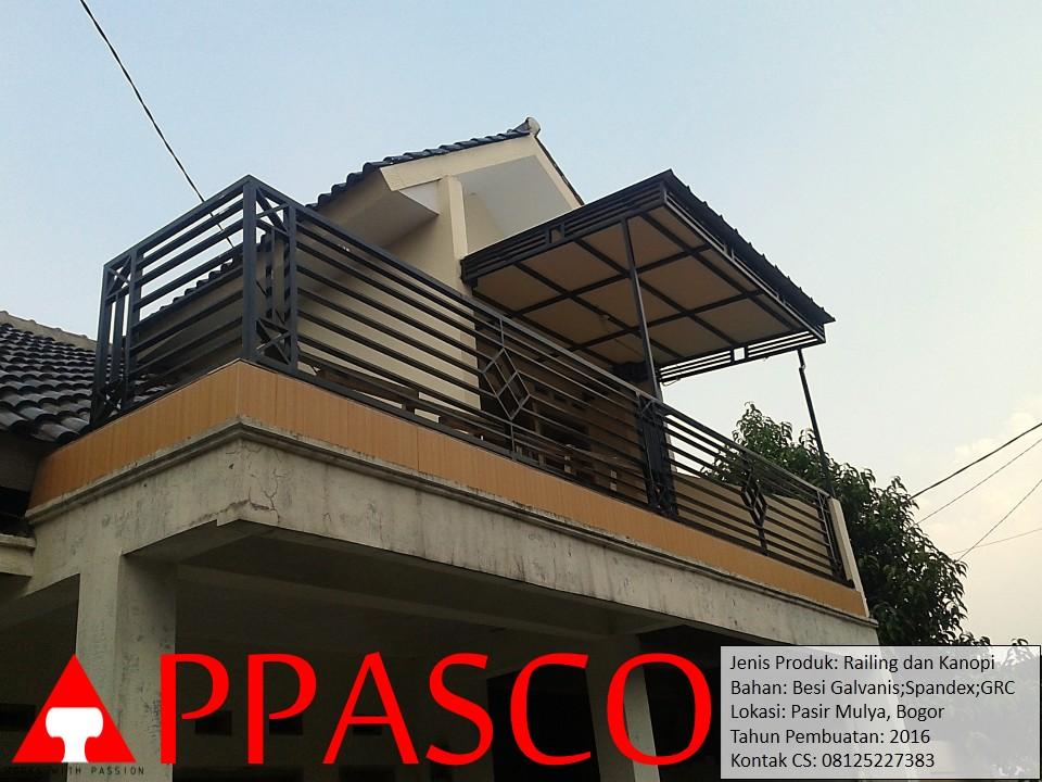 Railing Balkon dan Kanopi Lantai 2 di Pasir Mulya Bogor