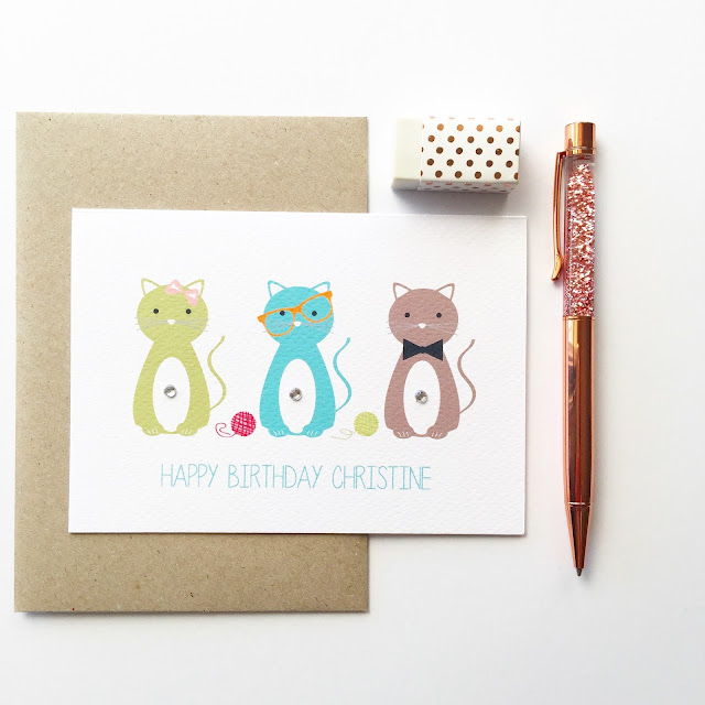 3 Cats Greeting Card by Mum an Me Handmade Designs