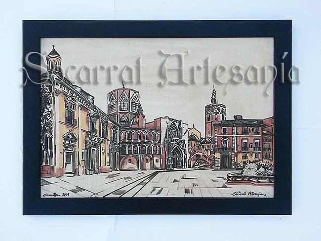 Bello socarrat con la Basílica, la Catedral, el Miguelete y la Casa vestuario. Camateu. Socarrat Artesanía