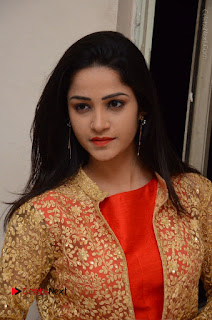 Telugu Actress Divya Nandini Stills in Orange Sleeveless Gown at Chennai Chaitrama Movie le Launch Event  0115.JPG