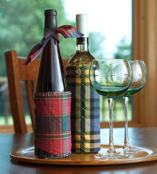 DIY Christmas gift idea - Flannel Wine Sleeve