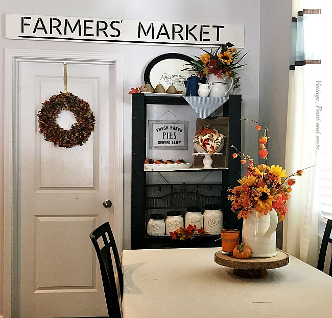 Vintage, Paint and more... twine wrapped pears, faux foliage, pumpkins and a rag wreath deck a kitchen out for fall