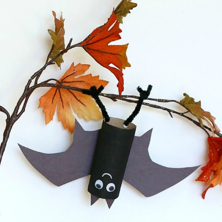 Upside down hanging bat craft - Halloween bat crafts for kids