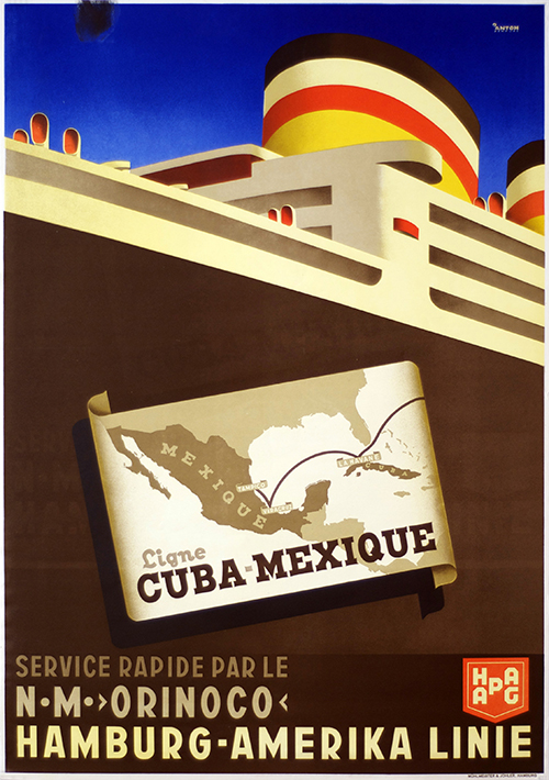 Cuba Mexico Hapag Cruise - Vintage Travel Poster, classic posters, free download, free posters, free printable, graphic design, printables, retro prints, travel, travel posters, vintage, vintage posters, vintage printables, vintage travel posters