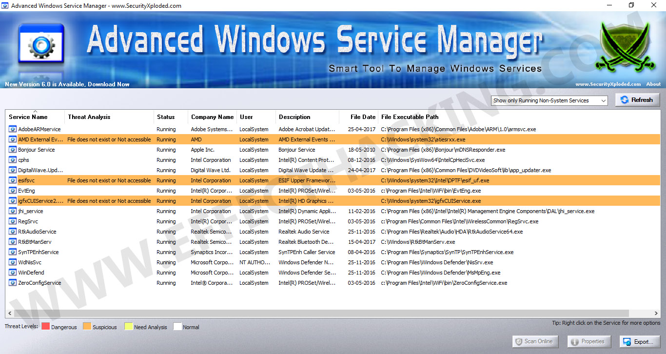 Advanced Windows Service Manager Snapshot