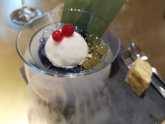Chilled Blue Pea Lemongrass Jelly with Lime Sorbet and Malay Cake with Salted Egg Custard