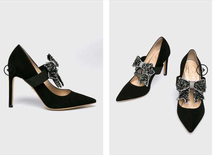 Pantofi de ocazii eleganti din piele cu brosa ca accesoriu frumoasa