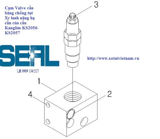 Valve - Van cân bằng chống tụt xy lanh nâng cần Kanglim KS2056-KS2057-S1126409R1