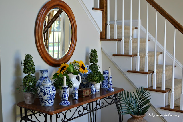 Blue and White with Sunflowers Vignette - One of My Favorites of 2016