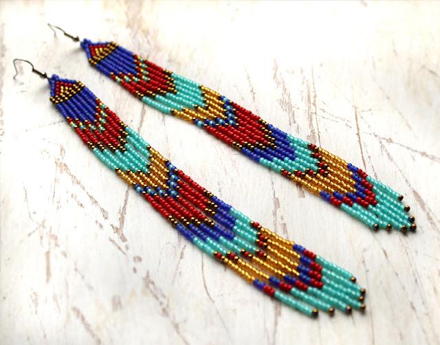 купить этнические украшения интернет магазин изделий из бисера в стиле бохо серьги