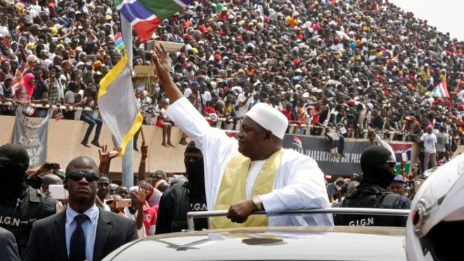 The Gambia: President Barrow sworn in at packed stadium