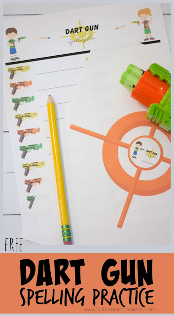 FREE Dart Gun Spelling Practice - this fun spelling game works with any spelling words for kids from kindergarten, first grade, 2nd grade, 3rd grade, 4th grade, 5th grade, and 5th grade kids. Perfect for homework, summer learning, and more.