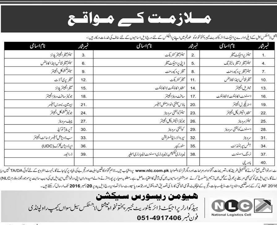 National Logistics Cell jobs in Rawalpindi