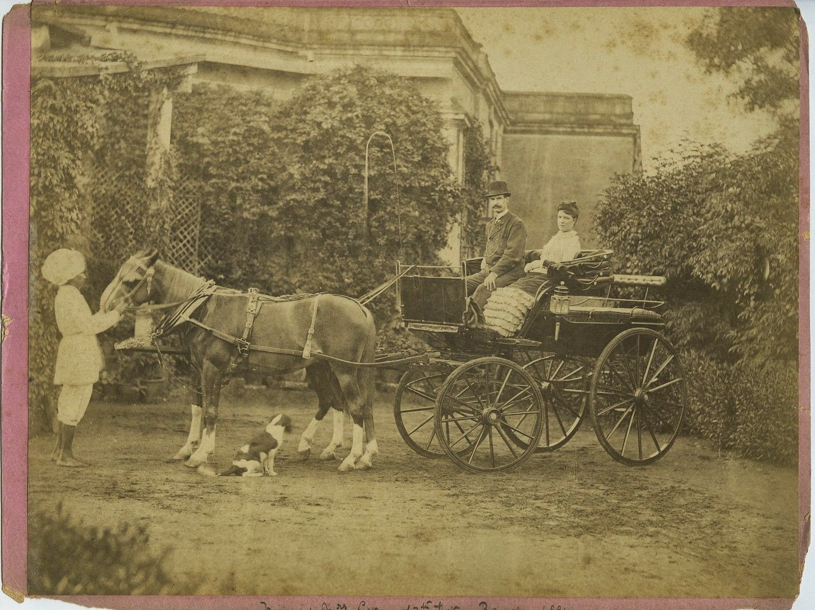 European Couple on a Horse Carriage - Bangalore, Karnataka, c1881