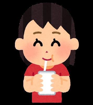 パックの飲み物を飲む子供のイラスト(女の子)