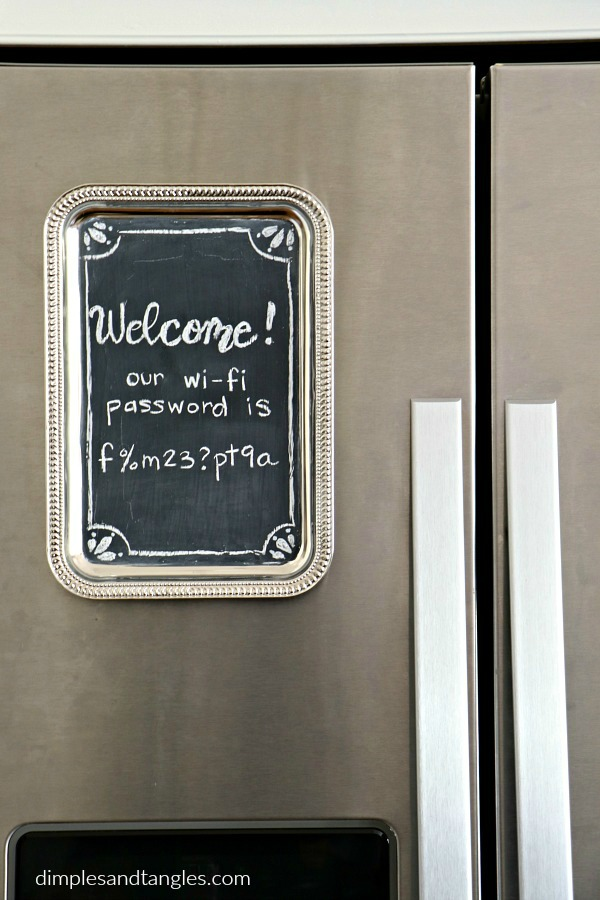 diy chalkboard, crafts, dollar store crafts, dollar tree, metal serving tray, chalkboard craft, wi-fi password sign