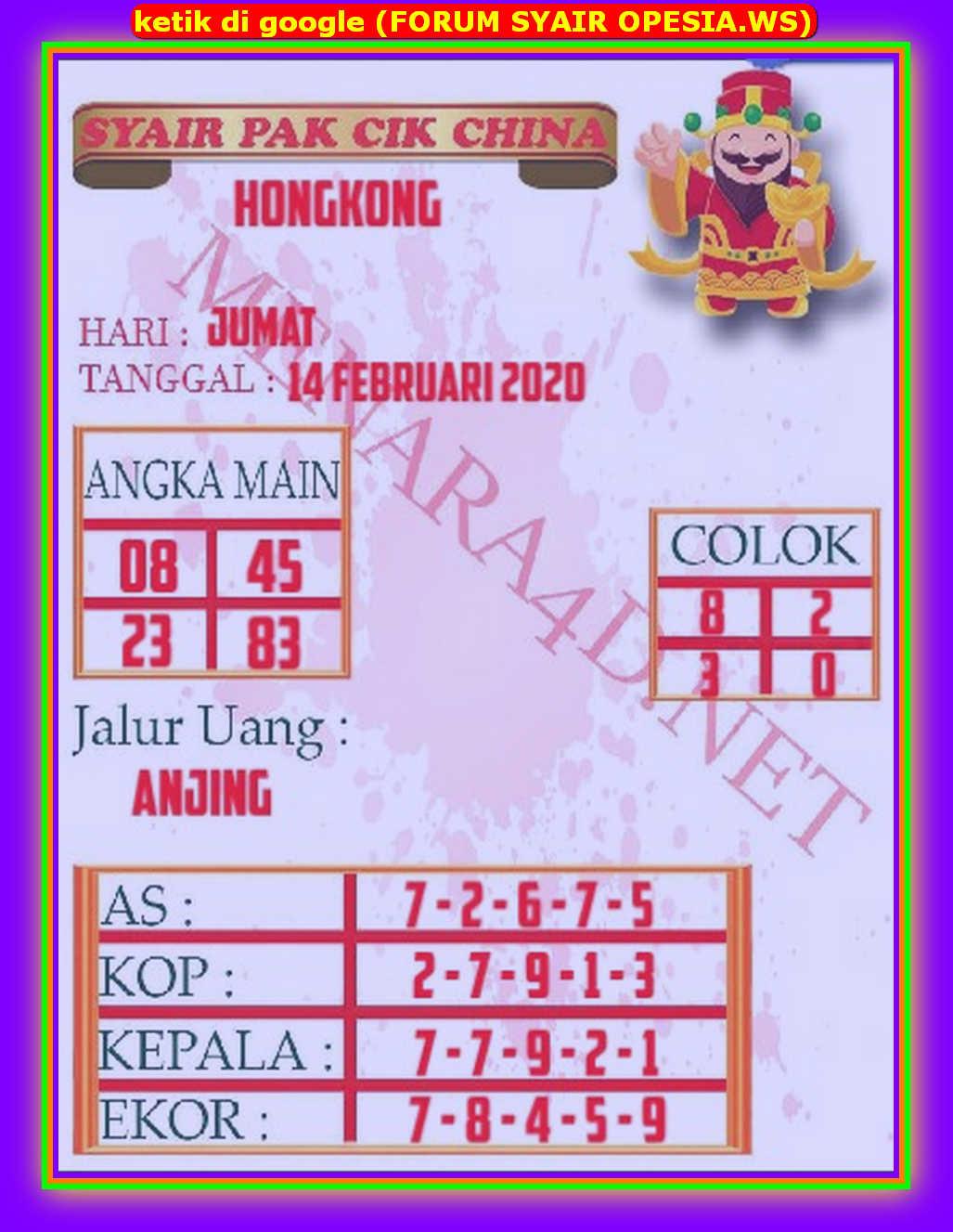 Kode syair Hongkong Jumat 14 Februari 2020 134