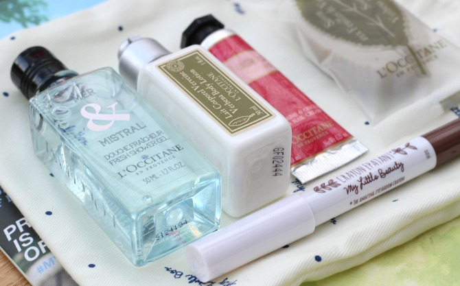 Close up of L'Occitane products