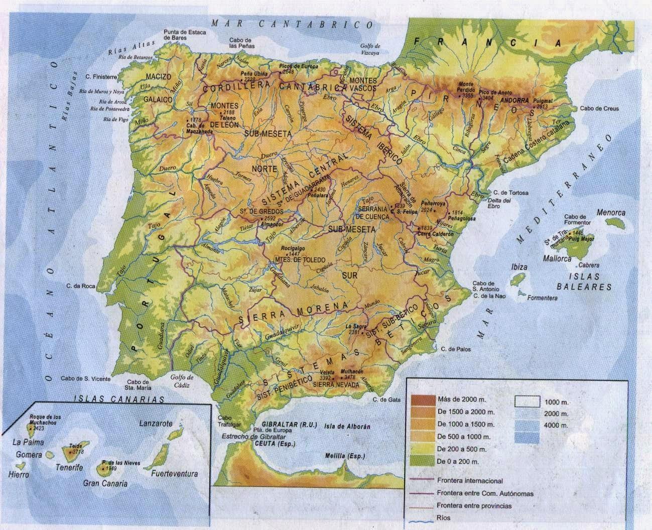 Repaso De Materia Mapas De Espana Politico Y Fisico
