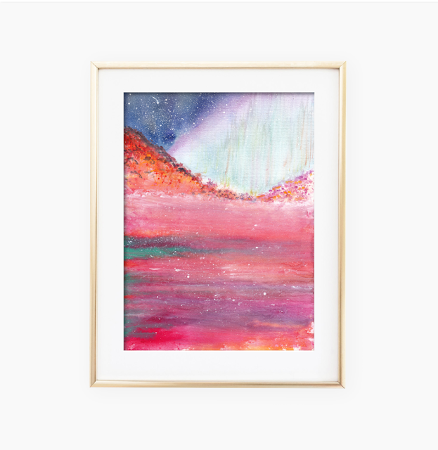 Magical Sea Red Watercolor Painting