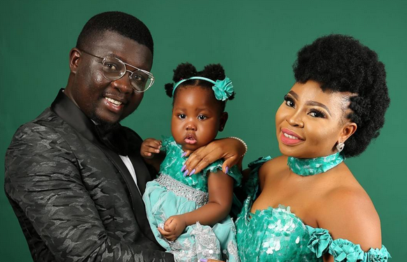Beautiful photos of comedian Seyilaw, his wife and their daughter to celebrate her birthday
