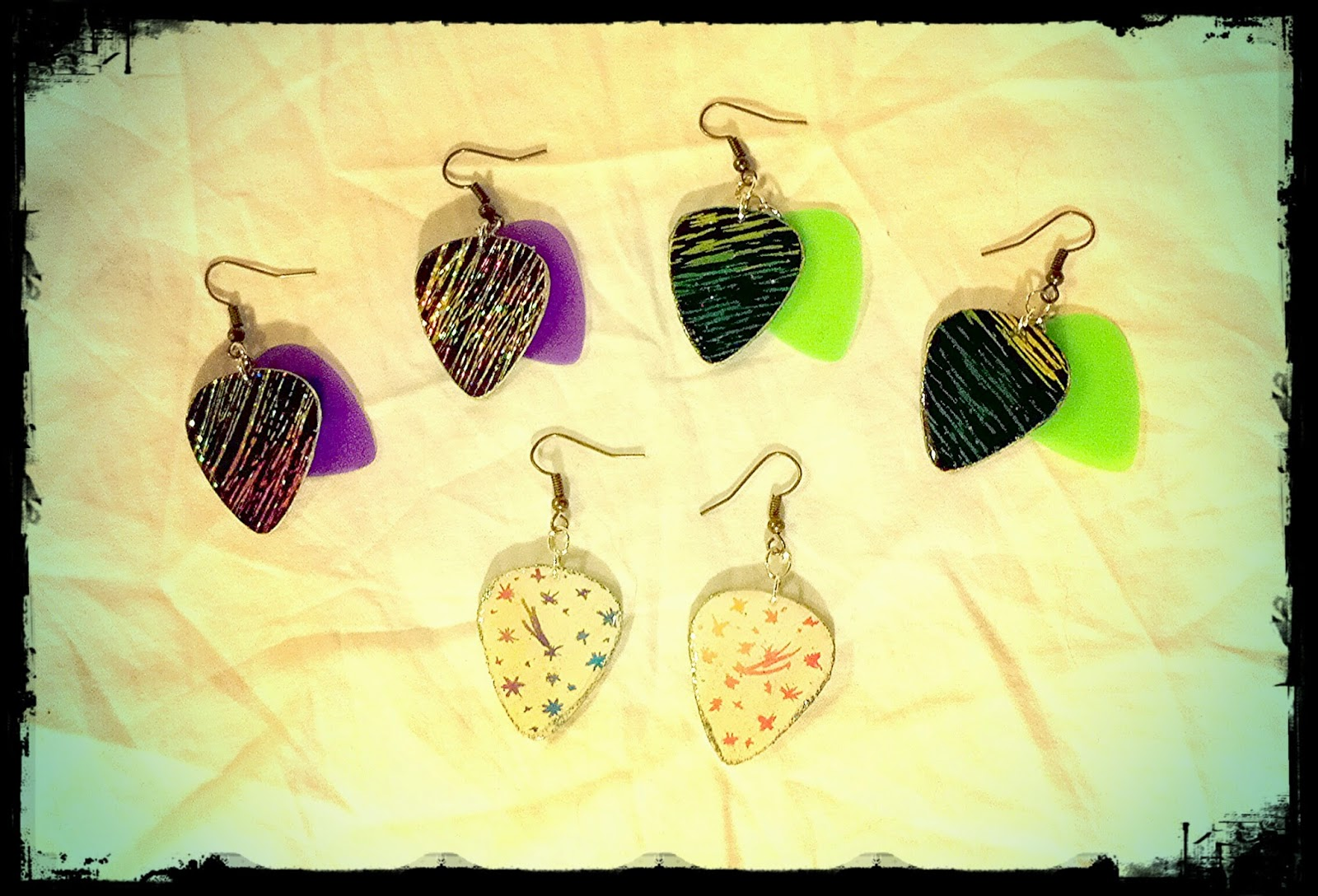 Scratch Magic Board guitar pick earrings