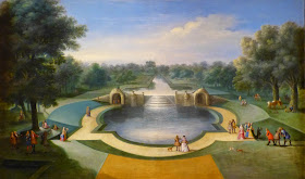 A view of the cascade, Bushy Park Water Gardens by studio of Marco Ricci (c1715)
