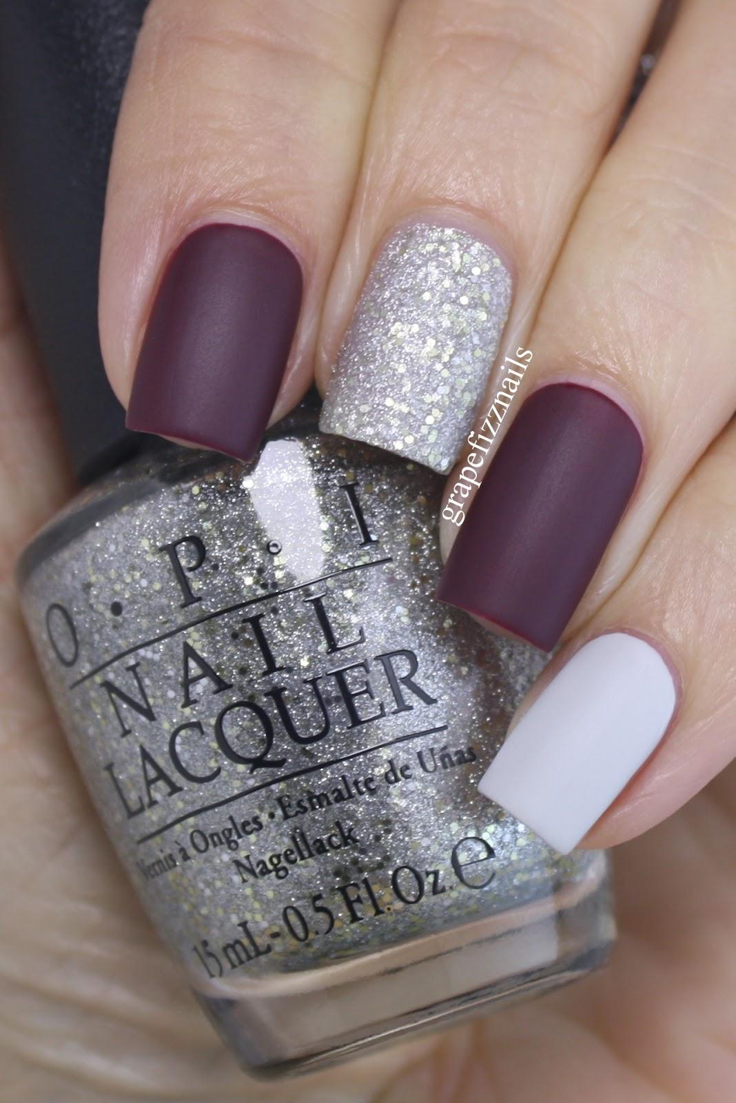 Grape Fizz Nails Burgundy Glitter Skittles