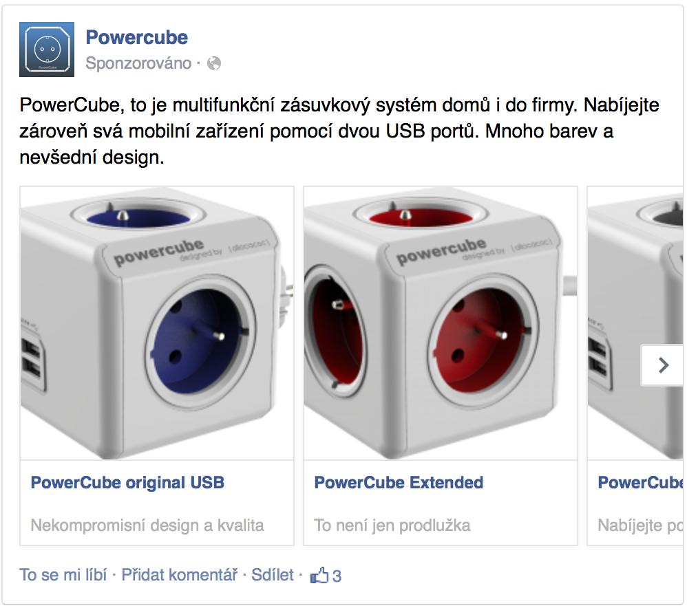 Multiproduktová reklama facebook