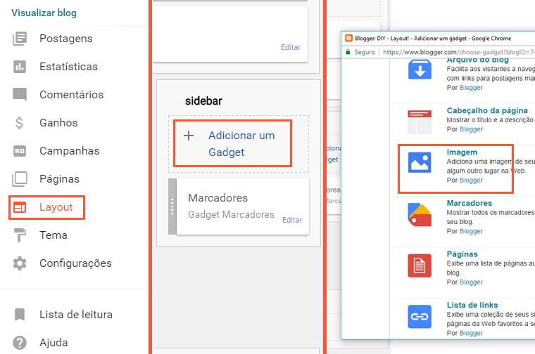 Como adicionar gadget de imagem no blogger