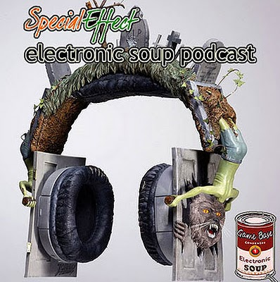 Image of a customised set of over the ear headphones, themed on Michael Jackson's Thriller video. A werewolf bursts out of a door attached to a headphone, and zombies rise from their graves. Text reads, Special Effect, electronic soup podcast. A small can of Game Base condensed Electronic Soup can be seen at the bottom right.