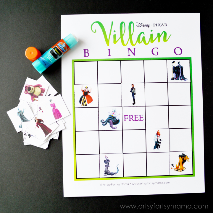 graphic regarding Disney Bingo Printable called Cost-free Printable Disney Villain Bingo artsy-fartsy mama