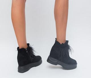 Pantofi sport de iarna negri de femei piele intoarsa cu talpa groasa ieftini