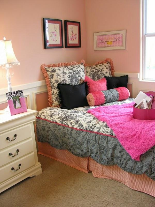 10 dormitorios juveniles en rosa y negro dormitorios colores y estilos - Paredes habitacion juvenil ...