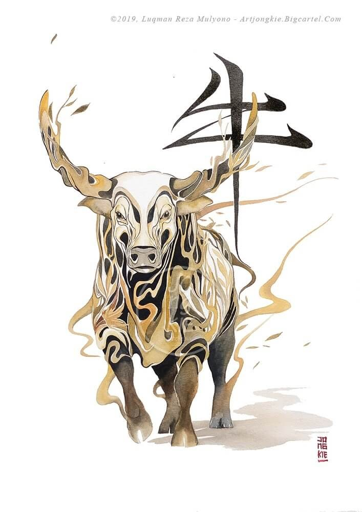 02-The-Ox-jongkie-Year-of-the-Pig-Chinese-New-Year-Zodiac-Drawings