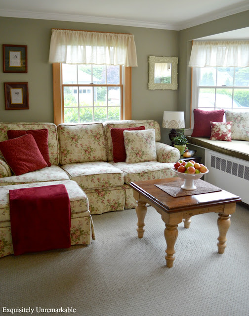Cottage Decor Family Room with large floral sofa