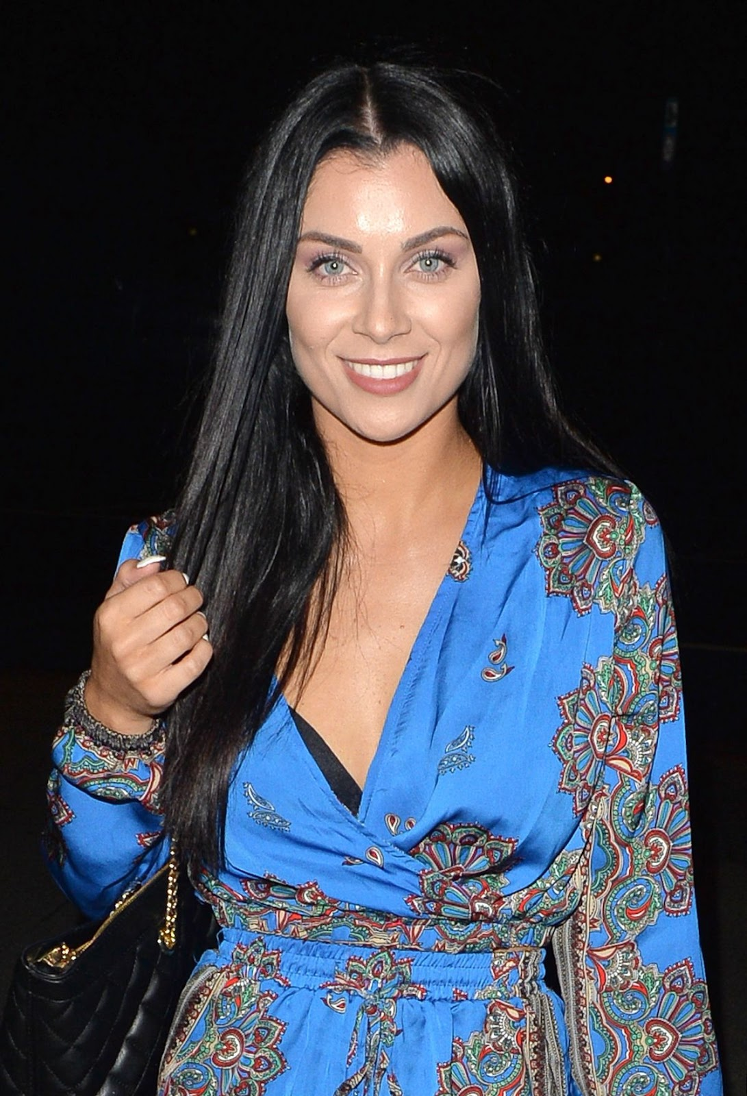 Photos of Cally Jane Beech in Blue dress Night Out in London