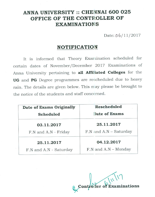 Anna University Nov Dec 2017 Exams Postponed & Rescheduled Details