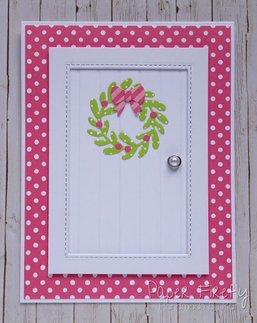 Contemporary Christmas card with door and mini wreath, using Mini Wreath by Lawn Fawn